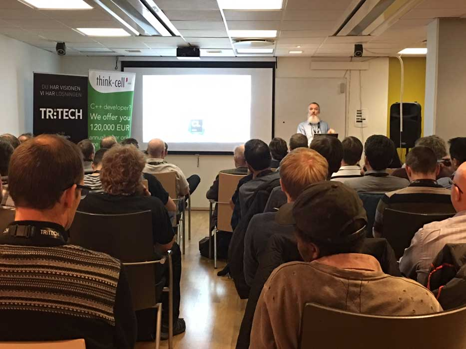 The main organizer, Harald Achitz, opens the meetup at Stockholm