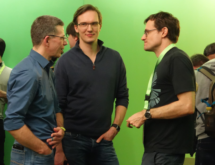 Arno, Sebastian and another MeetUp group member talking