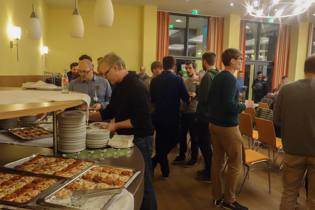Pizza and drinks to treat hungry developers after the end of a working day