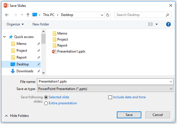 Save slides dialog with options to choose included slides and append date and time to filename
