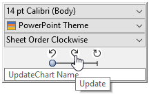 Context toolbar with row of excel link icons