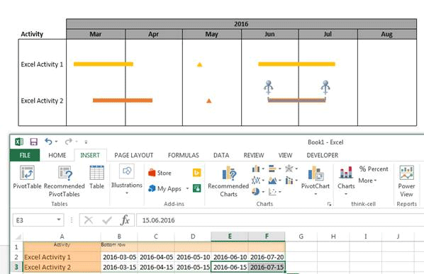 Link Excel data with Gantt charts in PowerPoint
