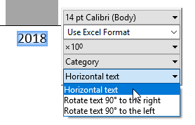 Set label rotation in the floating toolbar