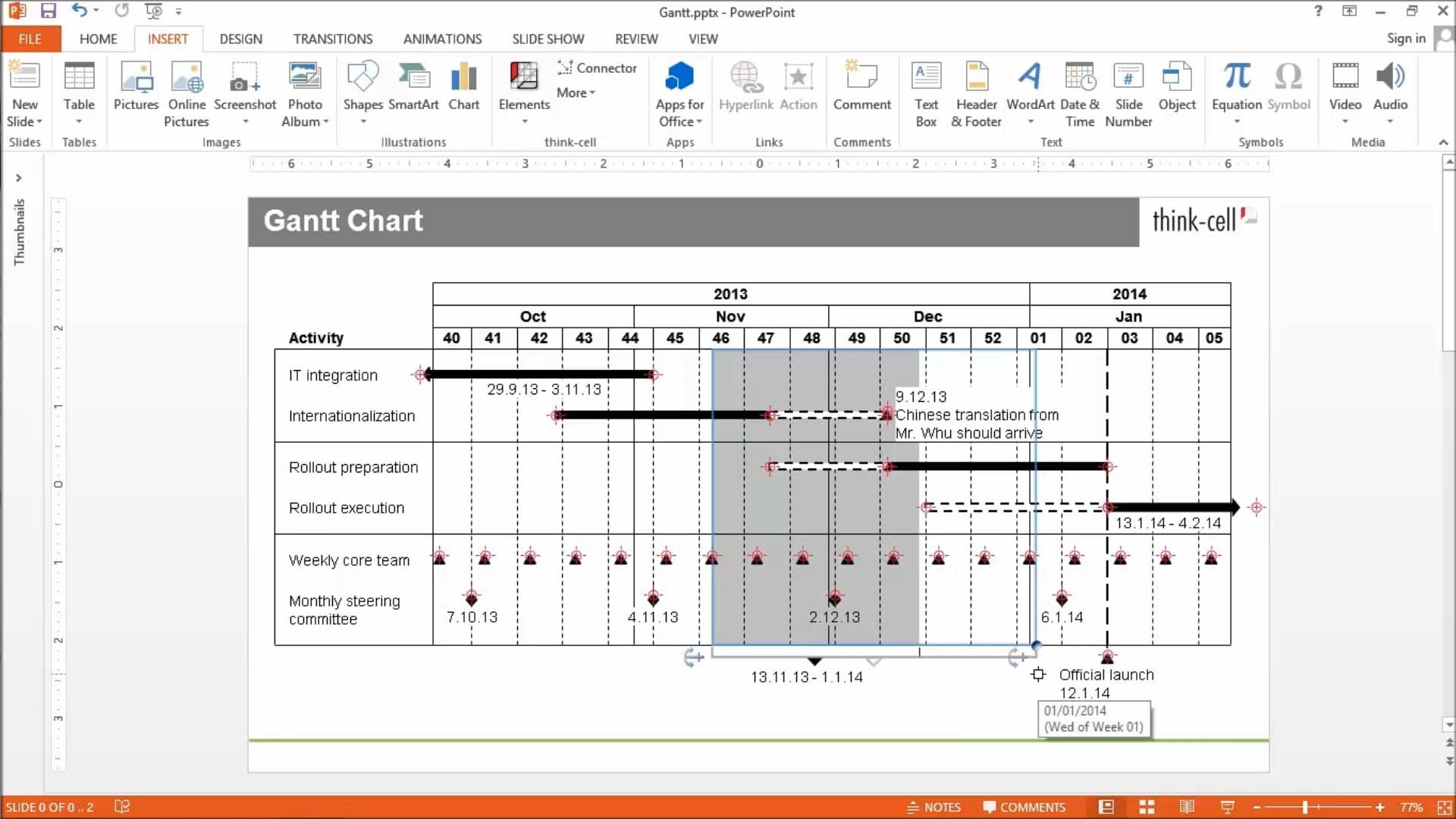 What does a gantt chart look like 10