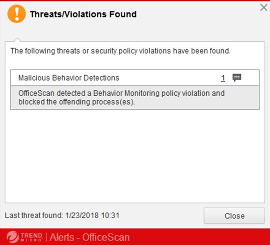 KB0215: Trend Micro Threats/Violations Found message appears