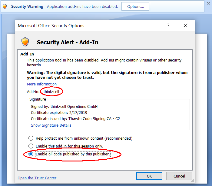 KB0187: Security settings may prevent think-cell from being